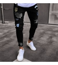 2018 Men Stylish Ripped Jeans Pants Biker Skinny  Straight Frayed Denim Trousers New Fashion skinny jeans  Clothes Dropshipping