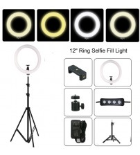 "12"" Dimmable LED Studio Camera Ring Light Photo Phone Video Light Lamp With Tripods Ring Selfie Table Fill Light For Canon"