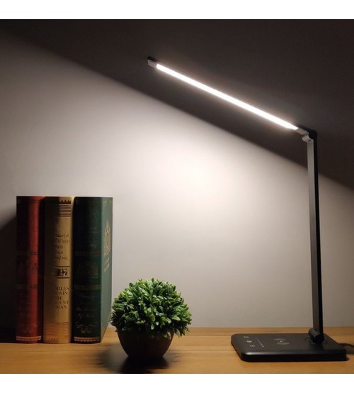 Flexible Table Lamp Led Desk Lamp Eye-Protection Book Light Qi Wireless Charging for Mobile phone 5-Level Brightness&Color