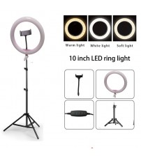 "10"" Dimmable LED Studio Camera Ring Light  Photo Mobile Phone Video Annular Lamp 110cm Tripod USB Charging"