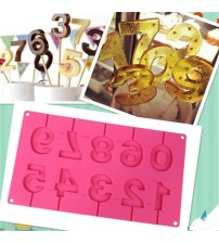 0-9 Numbers Shape Lollipop Silicone Mold 3D Hand Made Sucker Sticks Chocolate Lollipop Mold With Sticks Party Decoration