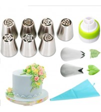 Pastry Nozzles And Coupler Icing Piping Tips Sets Stainless Steel Rose Cream Bakeware Cupcake Cake Decorating Tools