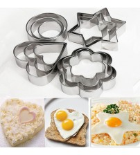 12pc/set Baking Moulds Stainless Steel Cookie Cutters Plunger Biscuit DIY Mold Star Heart Cutter Baking Mould Stencils Pastry