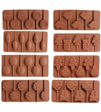 1PCS Silicone Lollipop Mold 9 Kinds Chocolate Cake Fondant Cookie Mould Jelly Pudding Molds DIY Baking Cake Decorating Tools 5