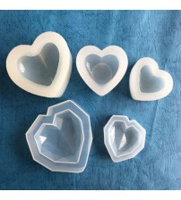 1 piece Love Heart Silicone Mold 3D Heart Aroma Gypsum Plaster Silicone Mould For Car Decoration DIY Candle Resin Molds