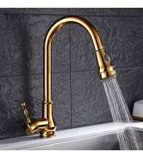 Free Shipping Three colors:Gold/Black/Chrome Pull Down Kitchen Faucet Solid Brass Swivel Pull Out Spray Sink Mixer Tap Water tap