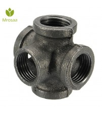 "1 Pcs 1/2"" 3/4"" 1"" 5 Way Pipe Fitting Malleable Iron Black Outlet Cross Female Tube Connector For connecting to male pipes"