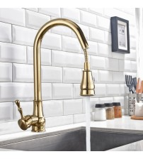 Kitchen Faucet Brass Black Bronze/Chrome/Nickel Brushed/Gold High Arch Kitchen Sink Faucet Pull Out Rotation Spray Mixer Tap