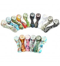 Silicone Pipe glow in the dark 7 word shape Smoking tobacco Hand Pipes colorful spoon Smoking