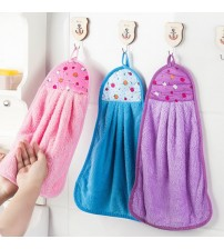 Hand Towel Hanging Kitchen Bathroom Thick Soft Cloth Wipe Towel Cotton Dish Cloth