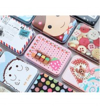 Creative Travel Cosmetic Case Organizer Storage Cartoon Tinplate storage box square high quality neatening storage