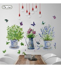 DIY Wall Stickers Potted Flower Pot Butterfly Home Decor Bathroom Decals Waterproof Landscaping Home Decoration Art Decals