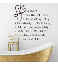 % DIY Life Is Short Words Removable quotes Wall Sticker Wall Decal Fashion Home Decoration for bedroom living room Mural Art PVC