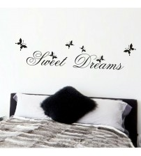 % hot sell sweet dream quotes wall stickers home decorations 2002 living bedroom diy decals mural arts printing poster butterfly