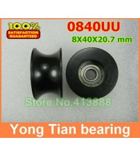 10 Pcs/ Lot 0840UU 8mm Groove Guide Pulley Sealed Rail Ball Bearing BU0840 8*40*20.7 mm 608Z