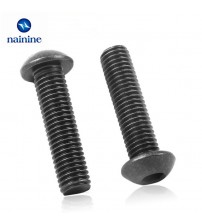 10/50Pcs M2 M2.5 M3 M4 ISO7380 10.9 Level Black Hexagon Socket Button Head Screw Furniture Mushroom Cap Hex Bolts HW041