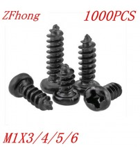 1000PCS M1*3/4/5/6 1mm black micro electronic screw cross recessed phillips round pan head self tapping screw
