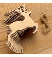 10 Pcs/Lot Christmas Tree Ornaments Wood Chip Deer Hanging Pendant Christmas Decoration Xmas Gift Crafts With 10pcs Hemp Rope