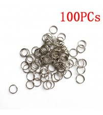 100pcs 8mm 10mm 15mm Key Tags Rings White Plated Steel Round Split Ring for Pet Id Tags Pet Dog Cats Collar Accessories