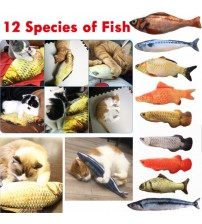 12 Style 3D Artificial Cat Catnip Toys Fish Plush Dog Pillow Pet Cat Dog Chew Scratch Pillow Toys Sleeping Cushion