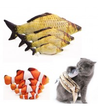 1 Pcs Funny Fish Shape Cat Toy Kitten Simulation Fish Playing Toys Cute Interactive Fancy Pets Teeth Grinding Catnip Pillow Doll