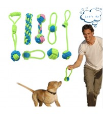 Pet Supply Dog Toys Dogs Chew Teeth Clean Outdoor Traning Fun Playing Green Rope Ball Toy For Large Small Dog Cat Toys