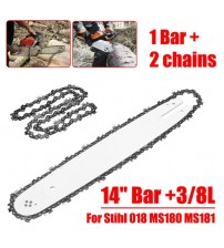 1 Set 2pcs 50 Knots 14 inch Chainsaws Chain Saw + 1 Black Guide 14 inch 3/8 LP For Steele Stihl 018 MS180 MS181