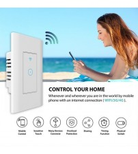 1 Gang US Smart WiFi Wall Touch Switch ,APP Remote Control, LED Light Intelligence Controller Work with Alexa Amazon Google Home