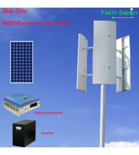 2kw-5kW New Energy 48v 96v 120v 220v low rpm Hybrid vertical wind generator and solar system high efficient project for