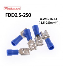 FDD2-250 Female Insulated Electrical Crimp Terminal for 1.5-2.5mm2 Connectors AWG 16-14 Cable Wire Connector FDD2.5-250