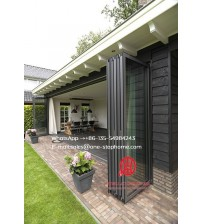 Matt black color grille french design aluminum glass bifold door for balcony,Outdoor Dividers Soundproof fold door