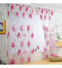 1 PCS Window Screens Vines Leaves Tulle Door Window Curtain Drape Panel Sheer Scarf Valances Ink Flowers 200cm x 100cm