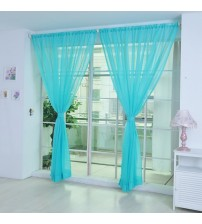 1 PCS Curtains Bedroom Pure Color Tulle Door Window Curtain Drape Panel Sheer Scarf Valances Korean Products Voile Curtains