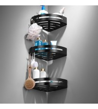 Space Aluminum Bathroom Shelves Black Bathroom Accessories Shower Corner Shelf Shampoo Storage Rack Bathroom Basket Holder