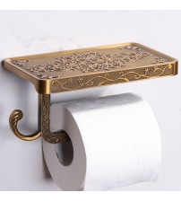 1PC Vintage Decor Style Toilet Paper Holder with Phone Shelf Wall Mounted Toilet Paper Holder for Toilet Hotel Bathroom Home