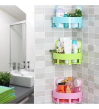 1 PC Creative Bathroom Corner Storage Rack Organizer Shower Wall Shelf with Double Strong Vacuum Suction Cup Free Shipping