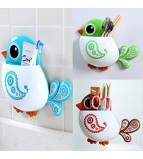 1 Piece Funny Popular Kid's Favourite Cartoon Bird Pattern Suction Cup Tooth Brush Holder Bathroom Accessories for Toothbrush