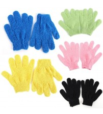 1 Pair Shower Bath Gloves Exfoliating Wash Skin Spa Massage Scrub Body Scrubber Glove 9 Colors (Random Color)