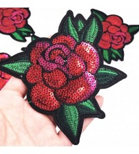 10Pcs Rose Sequins Patches For Clothing Jeans Bag Iron On Patch Embroidered Appliques DIY Apparel Accessory Sewing Clothes Patch