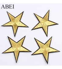 10pcs/lot 7.5cm Iron On Gold Star Stickers Embroidery Clothes Stars Patches Sewing Appliques DIY Jeans Coats Shoes Hats Badge