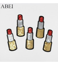 10pcs/lot Diy Sequined Lipstick Patch for women lady coat Jeans Shoes Bags Sweater Decoration Embroidery Appliqued Cloth Sticker
