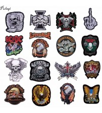 Leather Embroidered Biker Patches For  Jeans Men Jacket Clothing Snake Rose Gun Flower Punk ACDC Patch Stickers On Motorcycle F