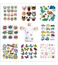 (46 Styles) Animals Iron on Heat Transfer Patches for Kids Clothing DIY Stripes Butterfly Applique T-shirt Custom Stickers @T