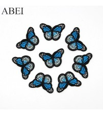 10pcs/lot Embroidered Butterfly Patches Iron Bags Stickers Diy women girl dress appliques Handmade sewing garment accessories