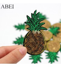 10pcs/lot Diy Pineapple Patches Iron on Clothes patch Embroidered Sequined Appliqued Handmade Stickers for bags Badge Accessory