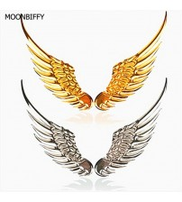 1 Pair Car tyling Fahion Metal ticker 3D Wing Car ticker Car Motorcycle Acceorie Gold/ilver