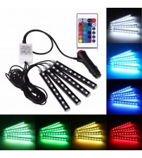 4pc / et 7 Color LED Car Interior Lighting Kit car tyling luminou environment decoration and Wirele Remote Control