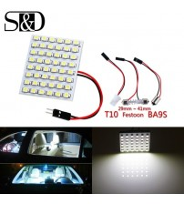 &D 48 MD Blue,White,Amber Panel led car T10 BA9 Fetoon Dome Interior Lamp w5w c5w t4w bulb Car Light ource parking