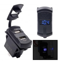 12-24V Motorcycle Car Boat UB Power ocket Plug Outlet With Voltmeter Vehicle Part Acceorie (Blue)