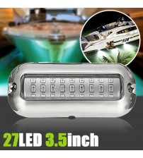 1pc Univeral 3.5inch 12V DC White/Blue 27 LED Marine tainle teel Under Water Pontoon Waterproof Boat Tranom Light IP68